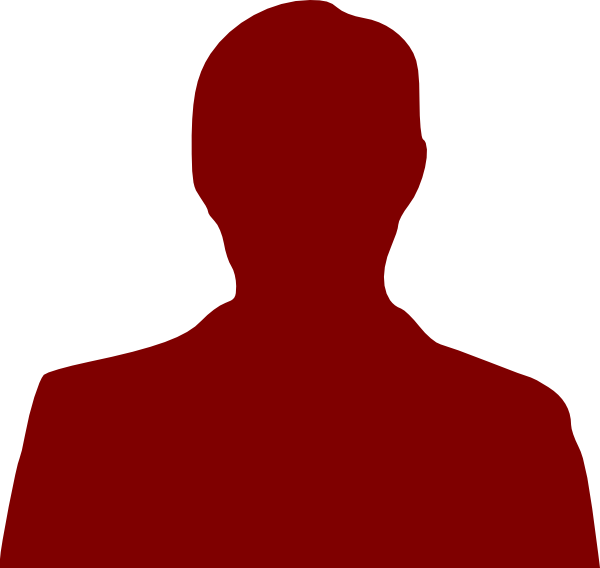 600x568 Person Outline Dark Red Clip Art