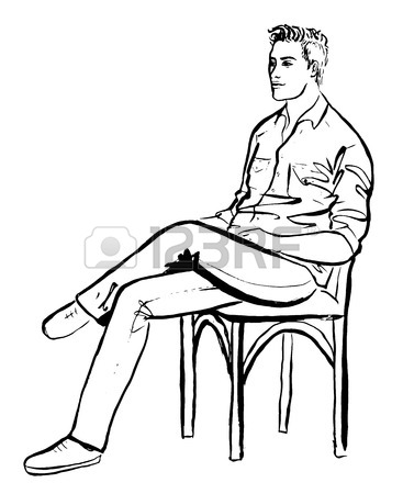367x450 Fashion Outline Illustration Of Man Sitting In Cafe. Ink Hand