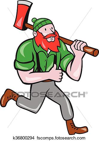 331x470 Clipart Of Paul Bunyan Lumberjack Axe Running Cartoon K36800294