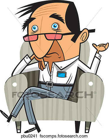 370x470 Clipart Of A Worried Looking Man Sitting In An Armchair Pbu0241