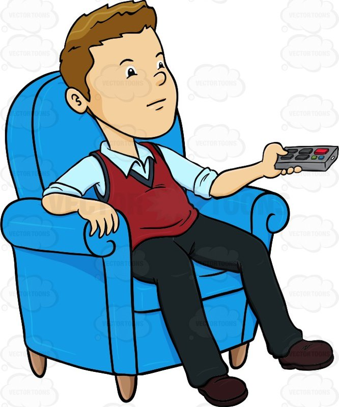 666x800 Man Sitting In A Blue Chair With A Remote Control In His Hands