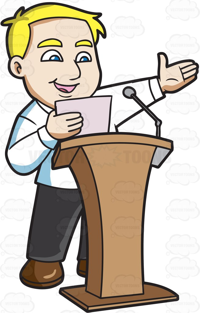 655x1024 A Man Saying His Speech In Front Of A Crowd Cartoon Clipart