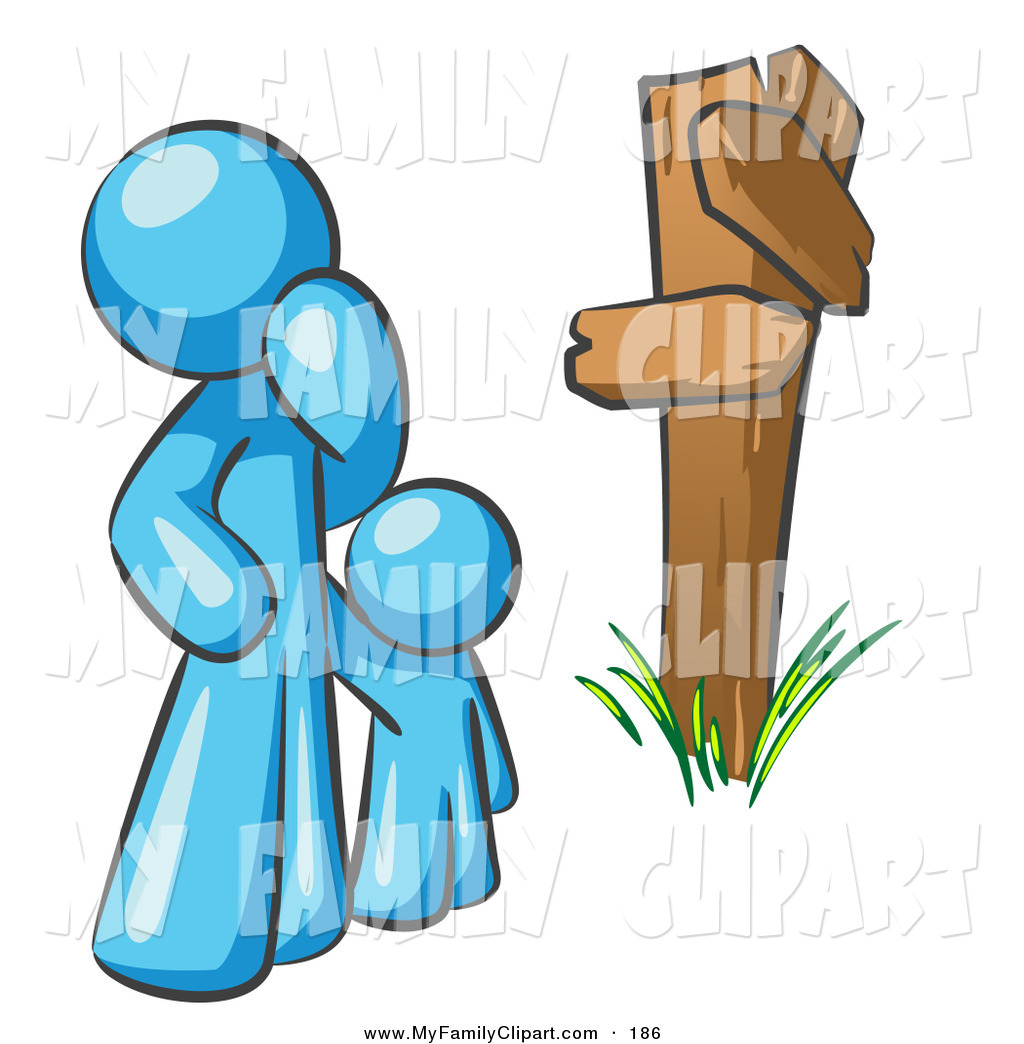 1024x1044 Clip Art Of A Lost And Confused Light Blue Man And Child Standing