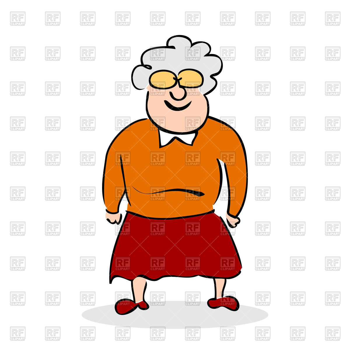 1200x1200 Funny Grandmother Standing Free Vector Clip Art Image