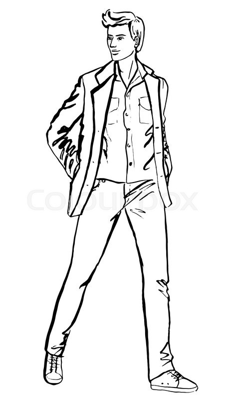 461x800 Illustration Of Standing Handsome Man. Fashion Outline Ink Hand