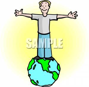 300x294 Art Image A Man Standing On Earth With His Arms Spread