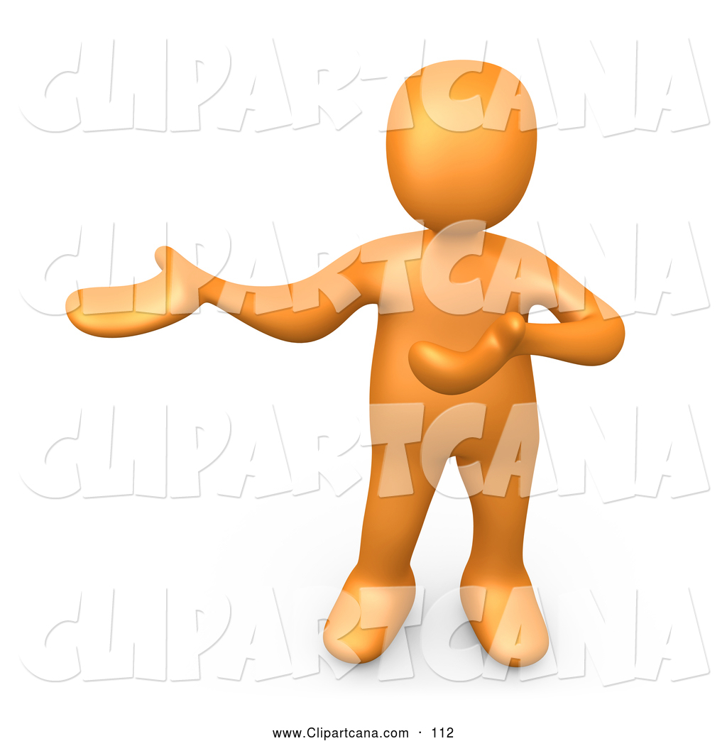 1024x1044 Clip Art Of A Cute Orange Person Standing And Holding One Arm