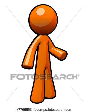 374x470 Drawing Of 3d Orange Man, Standing K7765553