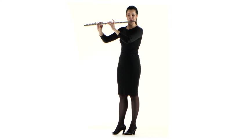 852x480 Female Playing On Saxophone Standing Sideways. Slow Motion, Black