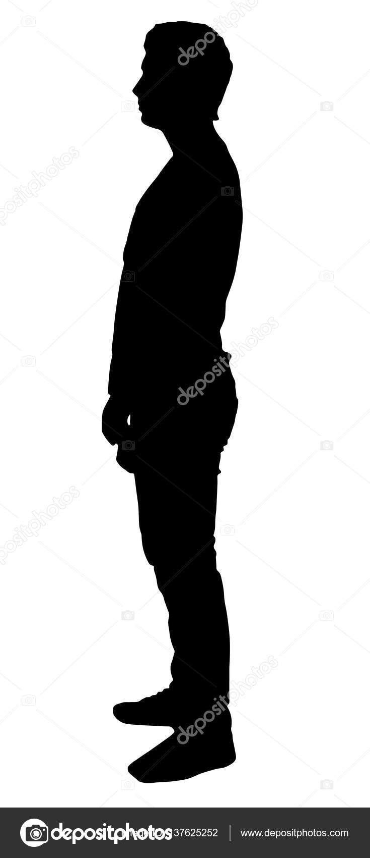 735x1700 Silhouette Of A Man Who Stands Sideways Stock Vector Persalius