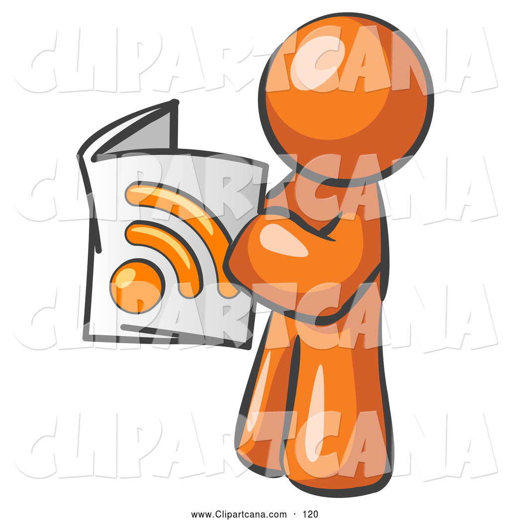 1024x1044 Vector Clip Art Of A Shiny Orange Man Standing And Reading An Rss