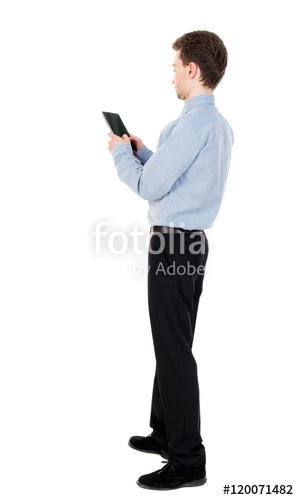 299x500 Back View Of Business Man Uses Mobile Phone. Curly Man In