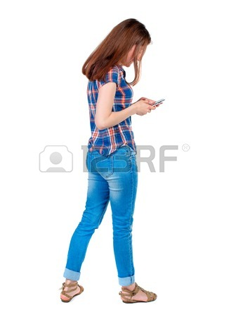 326x450 Back View Of Standing Young Beautiful Woman Using A Mobile Phone
