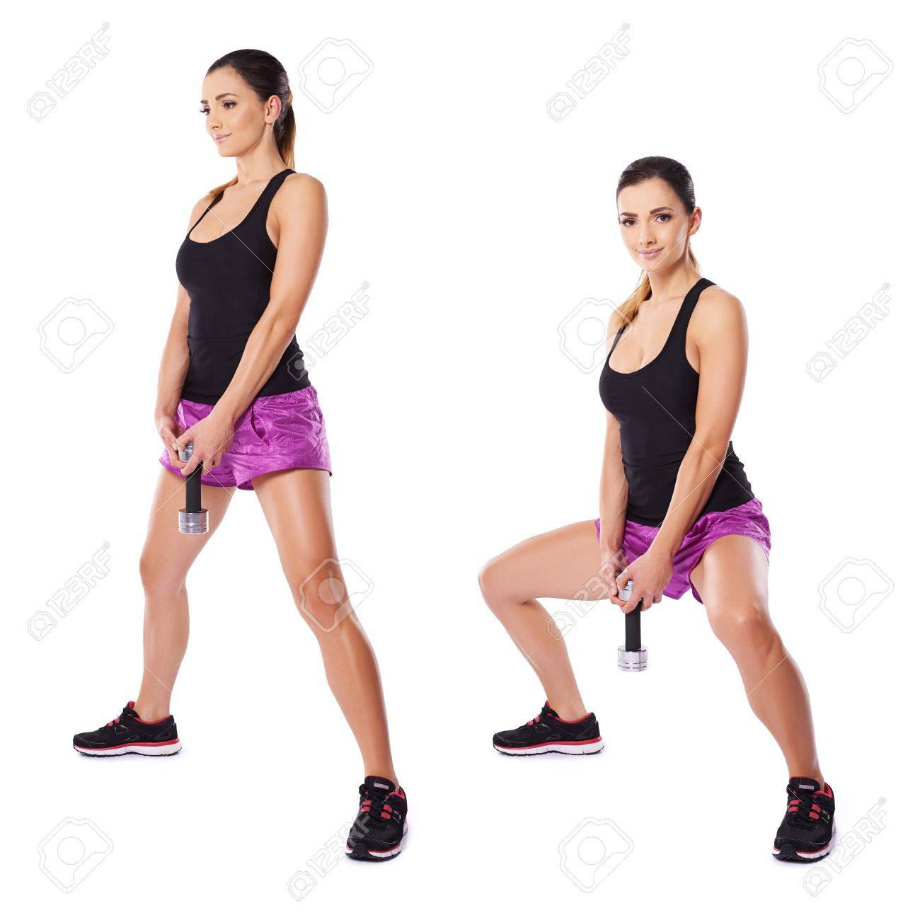 1300x1300 Athletic Young Woman Working Out With Dumbbells Shown In Two