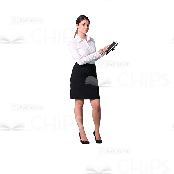 600x600 Cutout Girl Character Standing Sideways With Tablet