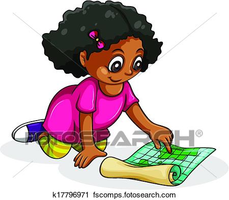 450x393 Clipart Of A Black Young Girl Studying K17796971