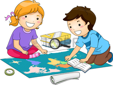 450x341 Illustration Of Preschool Kids Examining A Large Map While