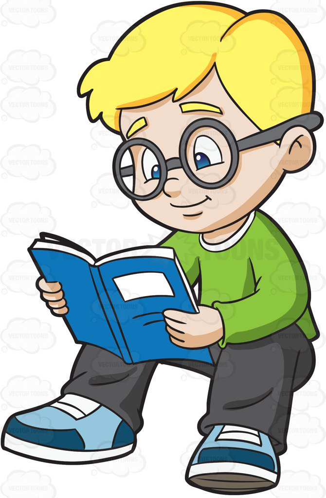 670x1024 A Boy Studying His Notes Cartoon Clipart
