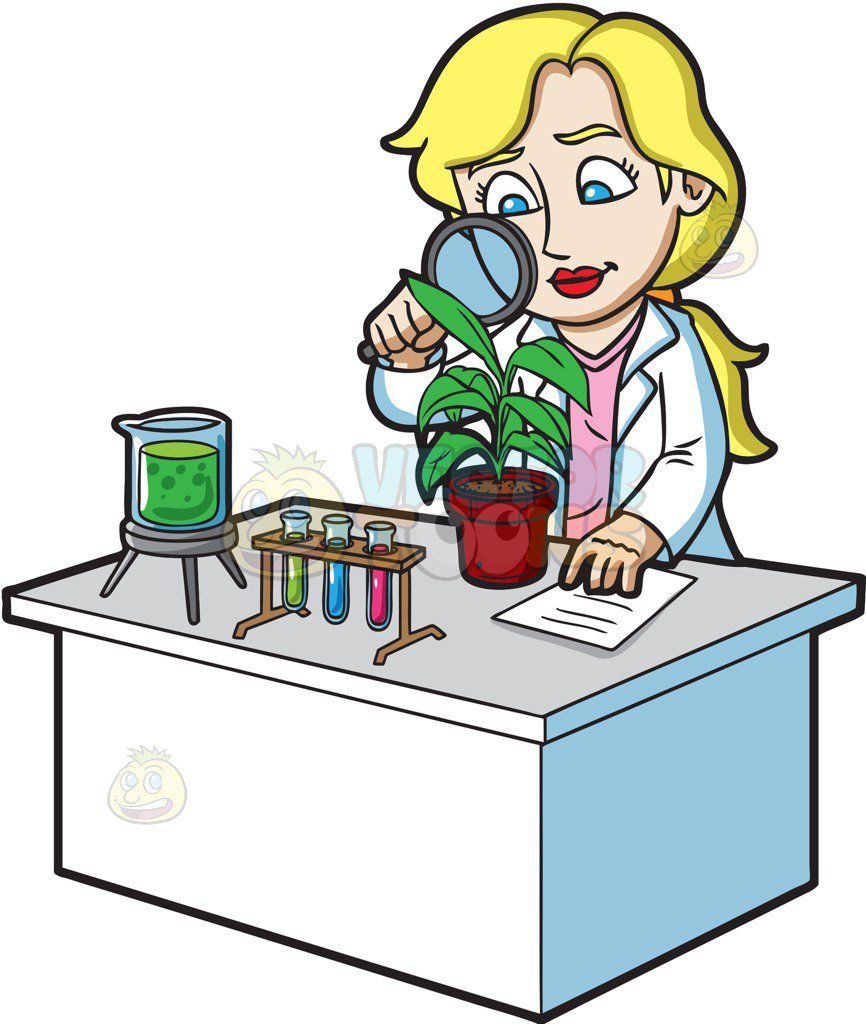 866x1024 A Female Scientist Studying Plants Cartoon Clipart