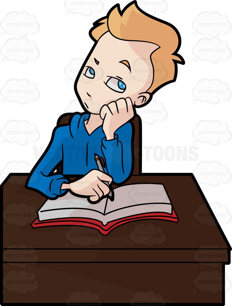 775x1024 A Male Student Thinking Of Something While Studying Cartoon