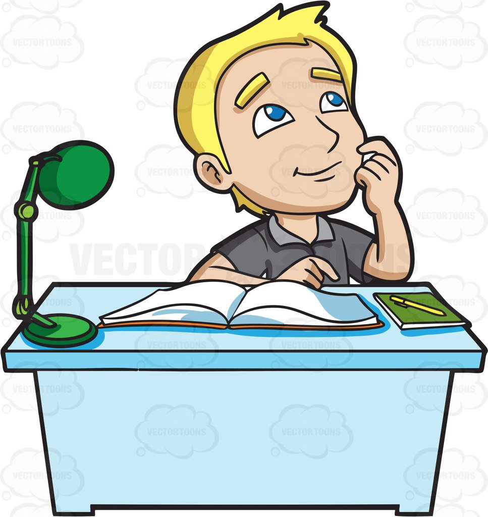 967x1024 A Young Man Daydreams While Studying Cartoon Clipart