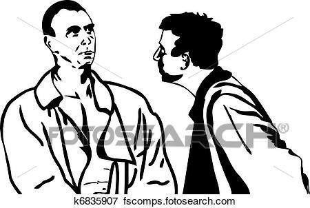 450x302 Clip Art Of Two Men Talking K6835907