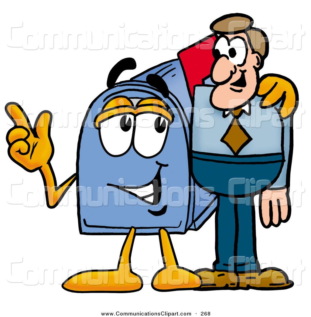 1024x1044 Communication Clipart Of A Friendly Blue Postal Mailbox Cartoon