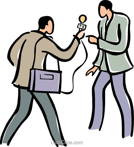 438x480 Man Talking With A Reporter Royalty Free Vector Clip Art