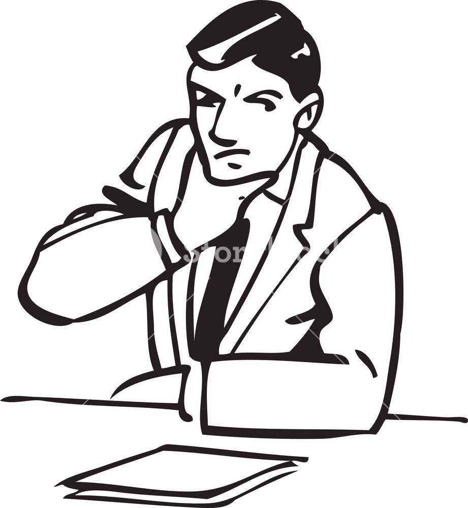 921x1000 Illustration Of A Thinking Man. Royalty Free Stock Image