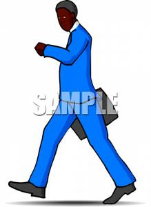 219x300 Art Image A Businessman Walking And Checking His Watch