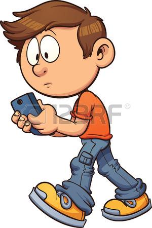 300x450 Cartoon Boy Texting While Walking. Vector Clip Art Illustration