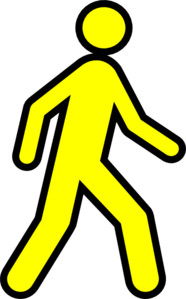 186x299 Yellow Walking Man With Black Outline Clip Art