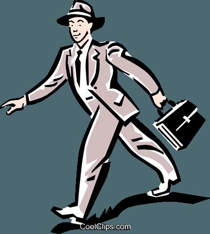 431x480 Man Walking To Work Royalty Free Vector Clip Art Illustration