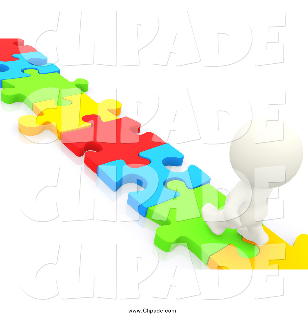 1024x1044 Clip Art Of A 3d White Person Walking On A Puzzle Piece Path By