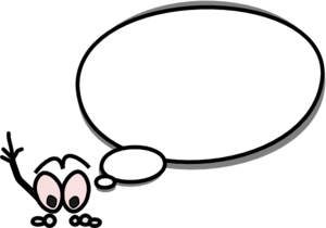 300x210 Speech Bubble With Person Pointing Up On Left Clip Art