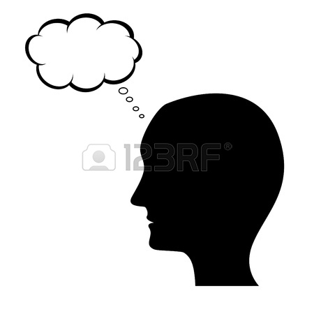 450x450 Thinking Man Silhouette With Thought Bubble Royalty Free Cliparts