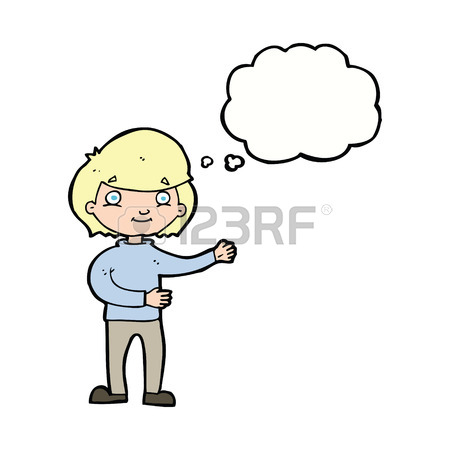450x450 Cartoon Happy Person With Thought Bubble Royalty Free Cliparts