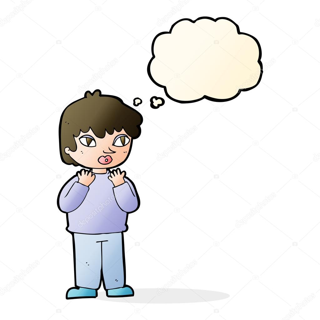 1024x1024 Cartoon Worried Person With Thought Bubble Stock Vector