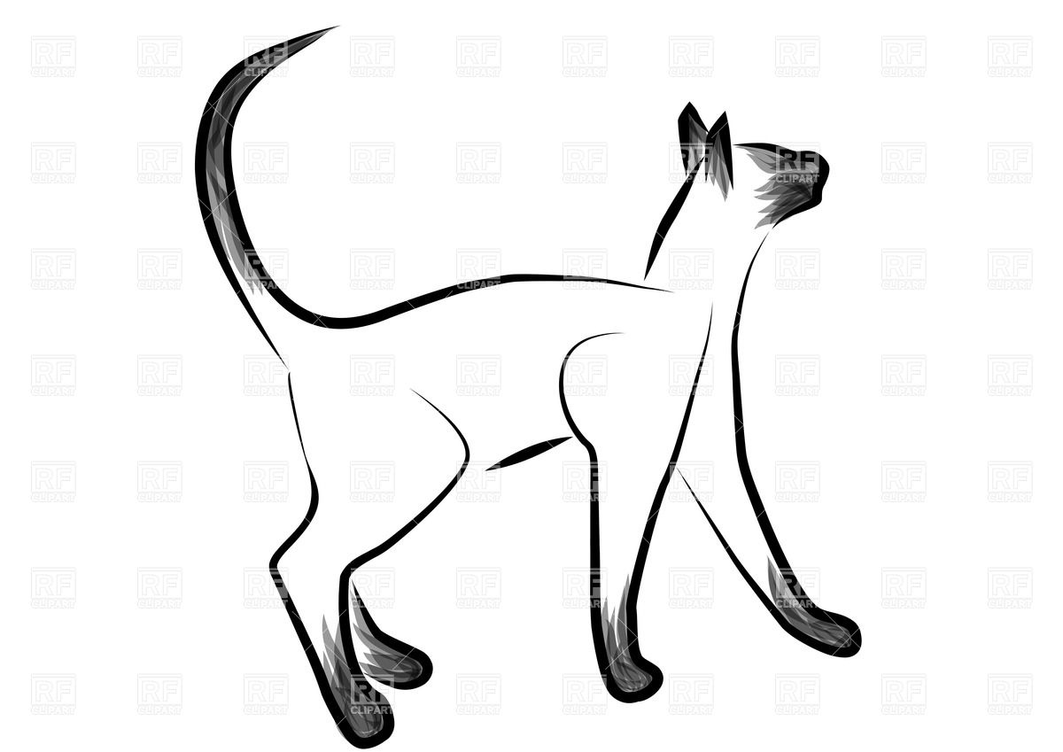 1200x849 Sketched Siamese Cat Royalty Free Vector Clip Art Image