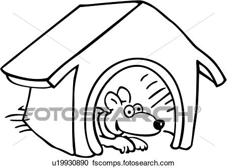 450x334 Clipart Of , Canine, Dog, Dog House, Pet, Pooch, Pup, Puppy