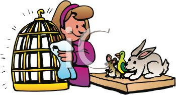 350x188 Woman Pet Owner Taking Care Of Her Pets, A Mouse, Bird And Rabbit