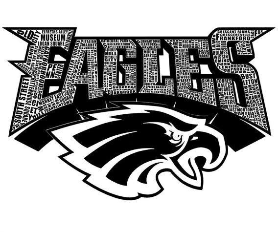 570x475 Philadelphia Eagles Typography Art On Canvas 30x40