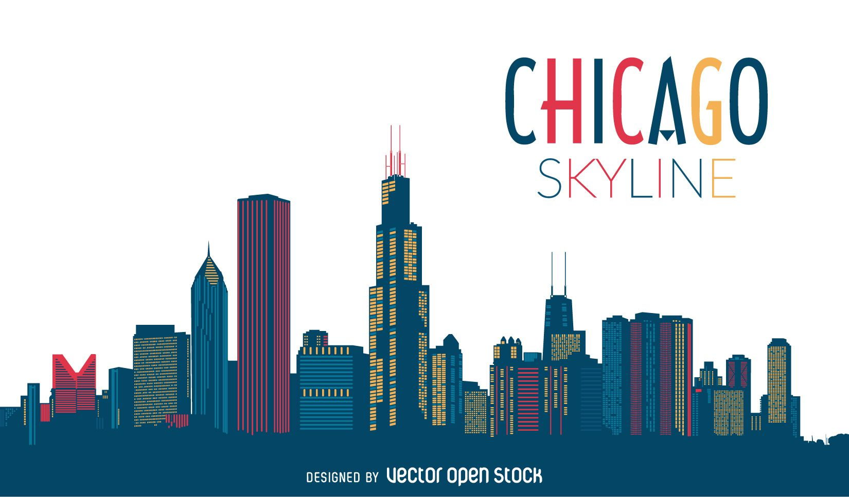 1650x967 Chicago Skyline Silhouette Affiches Skyline
