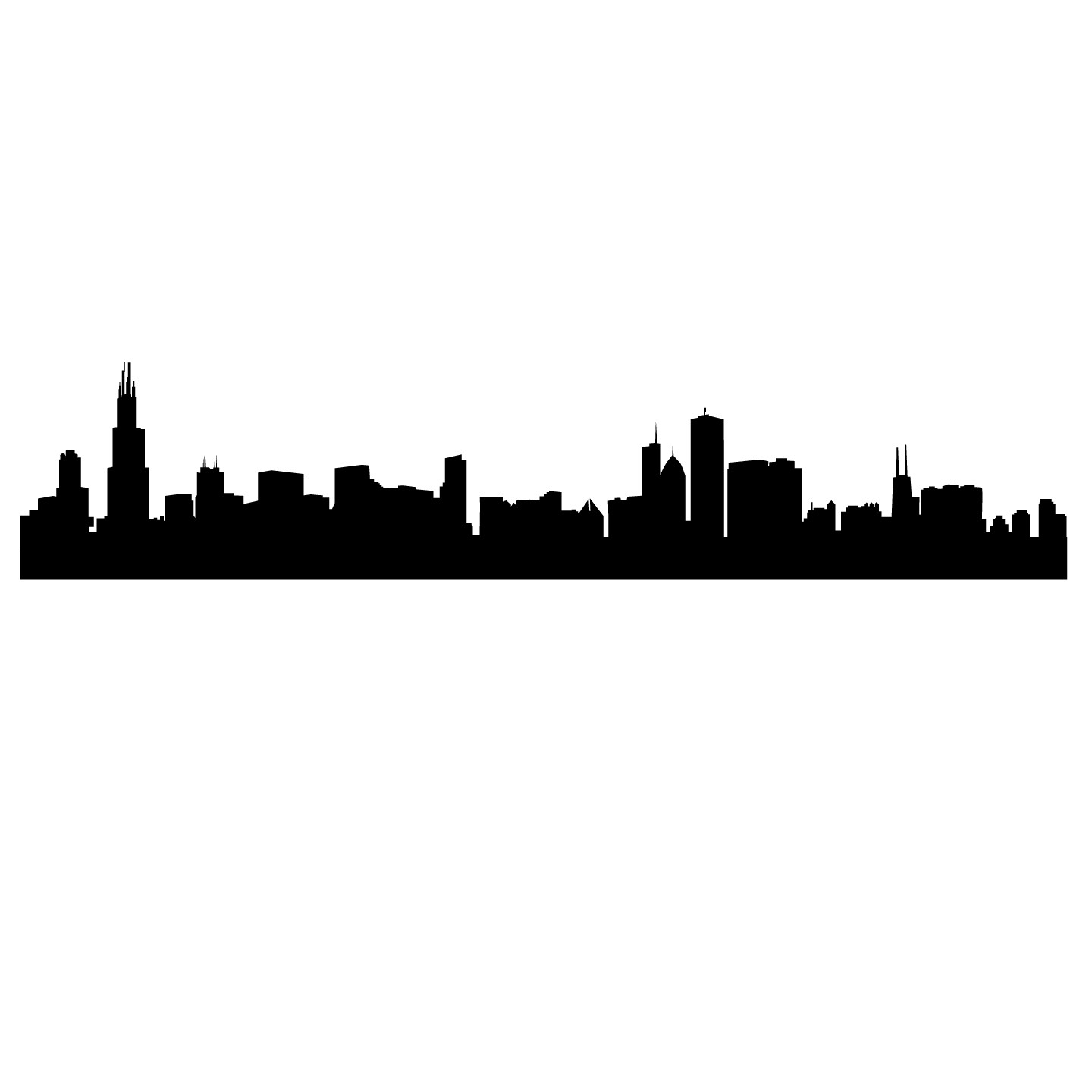 1440x1440 Chicago Skyline Art. Chicago River Skyline In Black And White