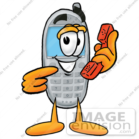 450x450 Cliprt Graphic Of Gray Cell Phone Cartoon Character Holding