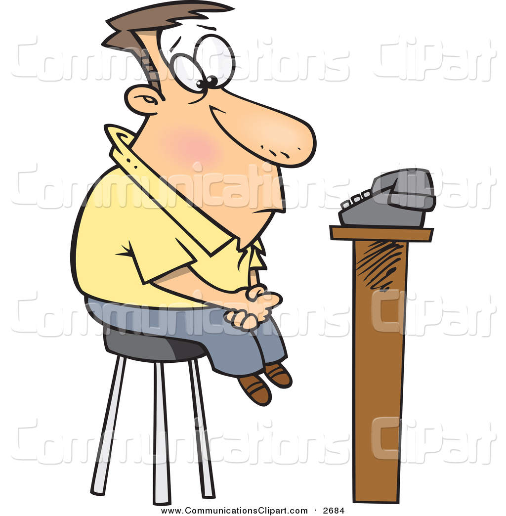 1024x1044 Communication Clipart Of A Cartoon White Man Waiting For A Phone
