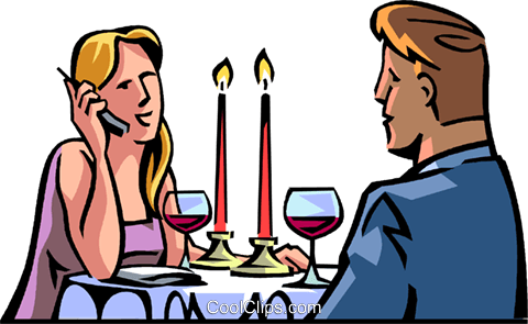 480x295 Dinner Interrupted By Cellular Phone Call Royalty Free Vector Clip