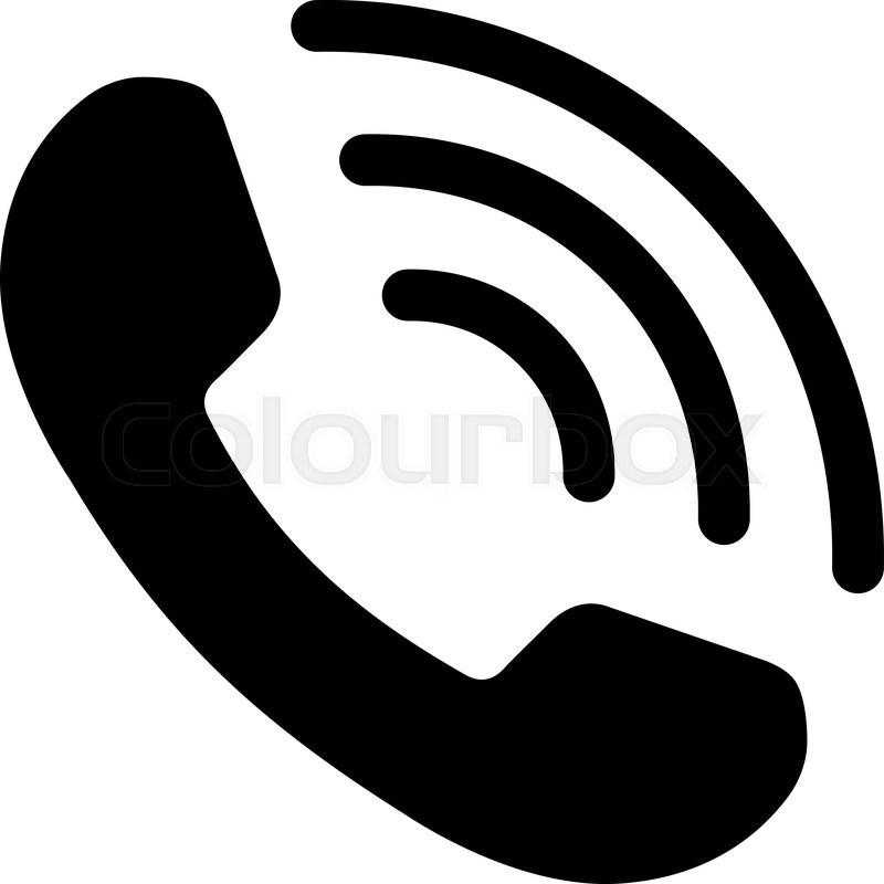 800x800 Phone Call Vector Icon. Style Is Flat Symbol, Black Color, Rounded