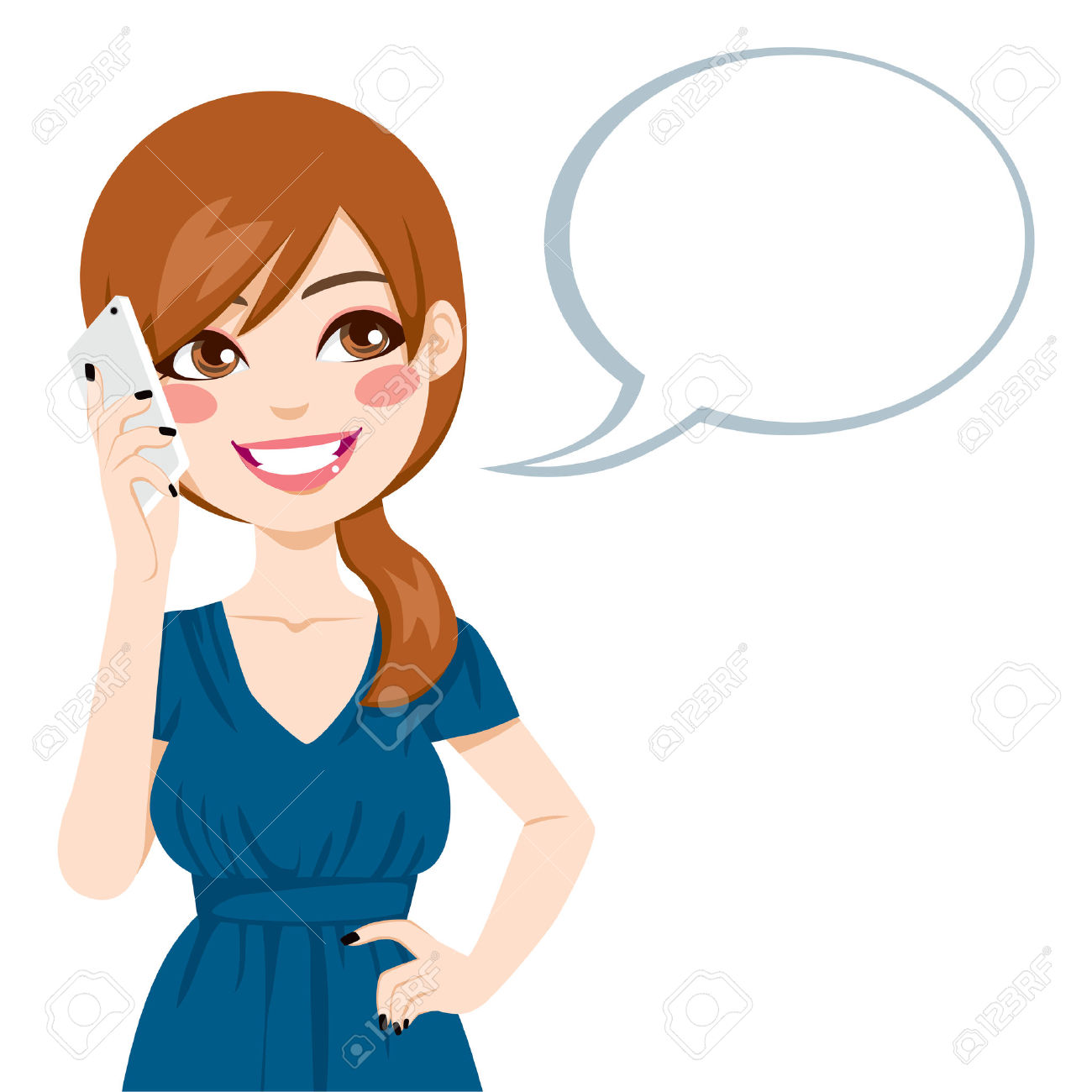 1300x1300 Brunette Clipart Cell Phone Call