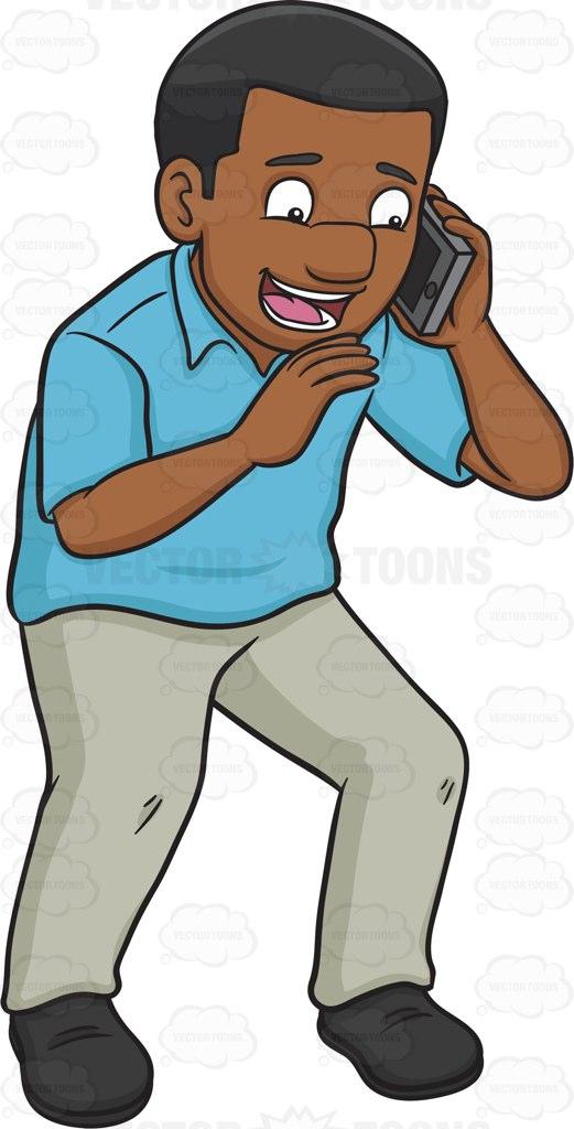 521x1024 A Cheerful Black Man Calling Someone On His Phone Cartoon Clipart